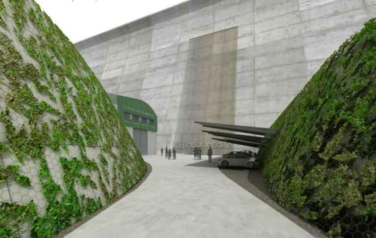 muro proyecto central hidroeléctrica Mequinenza