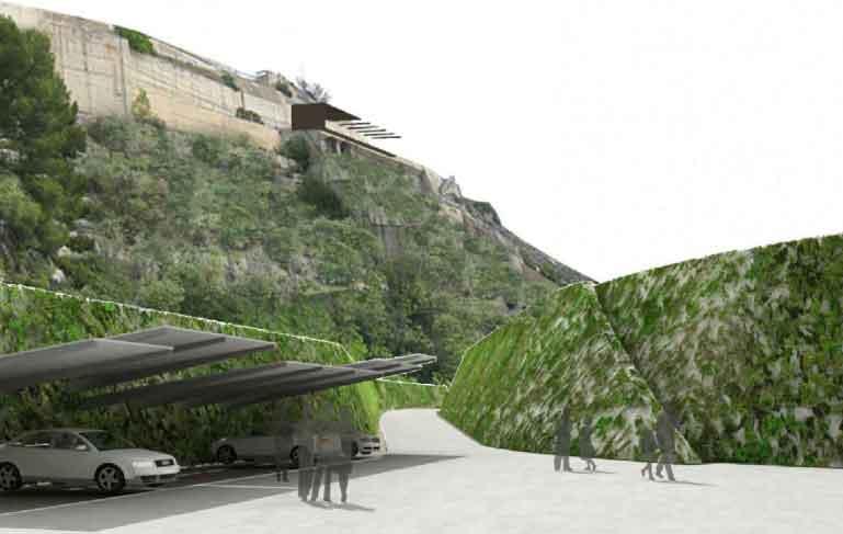 aparcamiento proyecto central hidroeléctrica Mequinenza