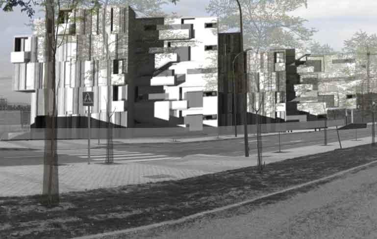 concurso viviendas en barajas fachada lateral